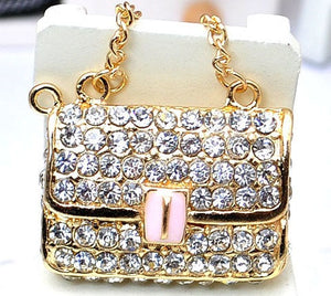 Gold Bling Handbag Purse Rhinestone Flatback Alloy Cabochon Decoden DIY Phone Case Charm Kawaii TDK-B1044