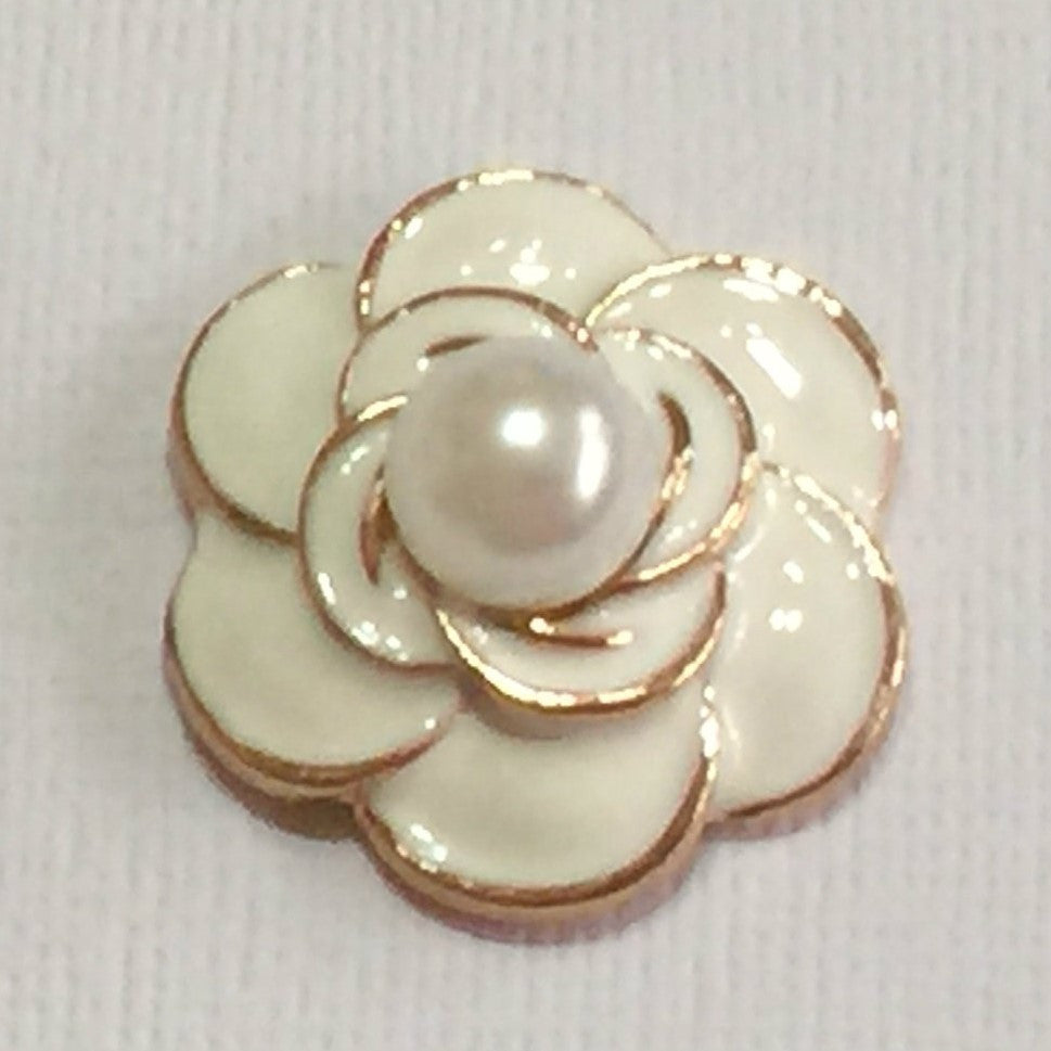WHITE Pearl Flower Flatback Button Gold Bling Cabochon Alloy Metal Decoden
