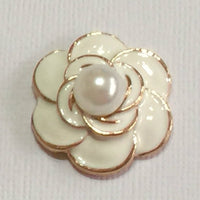 WHITE Pearl Flower Flatback Button Gold Bling Cabochon Alloy Metal Decoden (TDK-B1049)