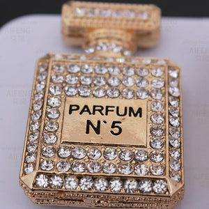 Perfume Bottle Gold Rhinestones Bling Cabochon Alloy Metal Decoden DIY Phone Case Charm Kawaii TDK-B1072