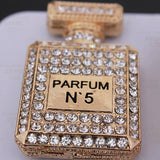 Perfume Bottle Gold Rhinestones Bling Cabochon Alloy Metal Decoden DIY Phone Case Charm Kawaii