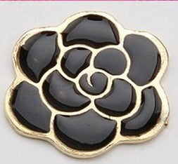 Black Flower Gold Bling Flatback Cabochon Alloy Metal Decoden