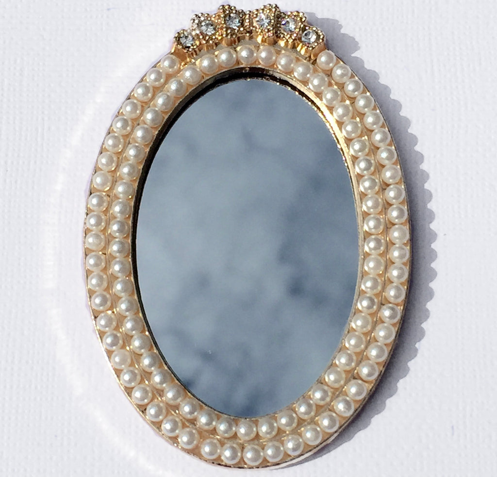 Small Oval Mirror with Pearls Rhinestone Gold Bling Cabochon Alloy Metal Decoden
