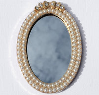 Small Oval Mirror with Pearls Rhinestone Gold Bling Cabochon Alloy Metal Decoden TDK-B1089