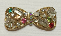 Multi Color Crystal Bow Rhinestone Gold Bling Cabochon Alloy Metal Decoden (TDK-B1094)
