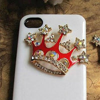 Red Crystal Crown Tiara Flatback DIY Phone Accessories Rhinestones Bling Cabochon Alloy Metal Decoden (TDK-B1117)