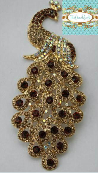 Gorgeous Bling Cognac Brown AB Rhinestone Peacock Alloy Cabochons Decoden DIY Phone Accessory