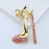 1 Piece Large Pink High Heel Flatback Rhinestone Gold Decoden Alloy Bling Cabochon DIY Phone Case TDK-B1016