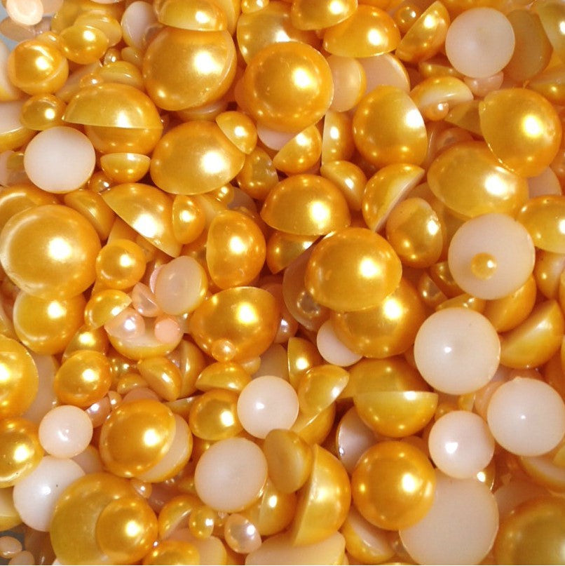 6mm Golden Yellow Flatback Half Round Pearls - 28 grams / 500 pieces - Loose, Bling, Nail Art, Decoden TDK-P118 - TheDecoKraft