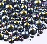 6mm Black AB Resin Round Flat Back Loose Pearls - 1000pcs