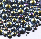 2-10mm (30g/500pcs) BLACK AB Resin Flatback Half Round Pearls (TDKPR1635) - TheDecoKraft
