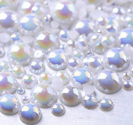 2-10mm Mixed White AB Flatback Half Round Pearls - 30 grams / 500 pieces - Loose, Bling, Nail Art, Decoden TDK-P055 - TheDecoKraft - 1