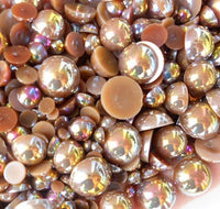 2-10mm Mixed Light Coffee AB Flatback Half Round Pearls - 30 grams / 500 pieces - Loose, Bling, Nail Art, Decoden TDK-P063 - TheDecoKraft