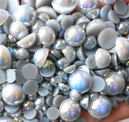 2-10mm Mixed Gray AB Flatback Half Round Pearls - 30 grams / 500 pieces - Loose, Bling, Nail Art, Decoden TDK-P065 - TheDecoKraft