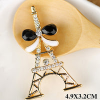 Paris Eiffel Tower Rhinestones Gold Bow Bling Cabochon Alloy Metal Decoden (TDK-B1046)
