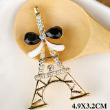 Paris Eiffel Tower Rhinestones Gold Bow Bling Cabochon Alloy Metal Decoden
