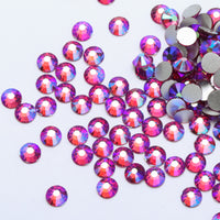 ss3/1mm Fuchsia AB Glass Round Flat Back Loose Rhinestones - 1440pcs