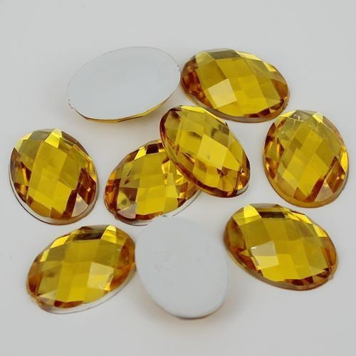 20 Piece 18x25mm Golden Yellow Oval Acrylic Mosaic Flatback Shaped Rhinestones, Bling, Decoden (TDK-R1607) - TheDecoKraft