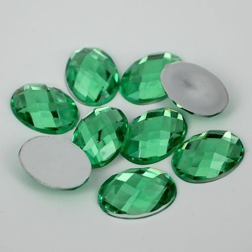 20 Piece 18x25mm Grass Green Oval Acrylic Mosaic Flatback Shaped Rhinestones, Bling, Decoden (TDK-R1598) - TheDecoKraft