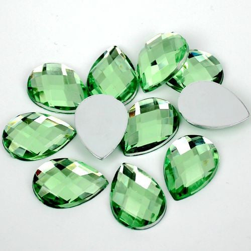 25 Piece 13x18mm LIGHT GREEN Teardrop Shape Acrylic Flatback Rhinestones (TDK-R1628) - TheDecoKraft