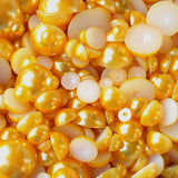 2-10mm Mixed Golden Yellow Flatback Half Round Pearls - 30 grams / 500 pieces - Loose, Bling, Nail Art, Decoden TDK-P077 - TheDecoKraft