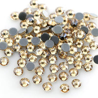 SS16/4mm Gold Champagne Glass Round Flat Back Loose HOTFIX Rhinestones - 1440pcs