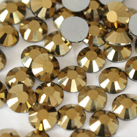 Gold Crystal Glass Rhinestone - SS12, 1440 pieces - 3mm Flatback, Round, Loose Bling - TheDecoKraft - 1