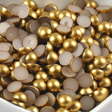 10mm Gold Matte Resin Round Flat Back Loose Pearls - 500pcs