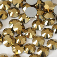ss3/1mm Gold Glass Round Flat Back Loose Rhinestones - 1440pcs