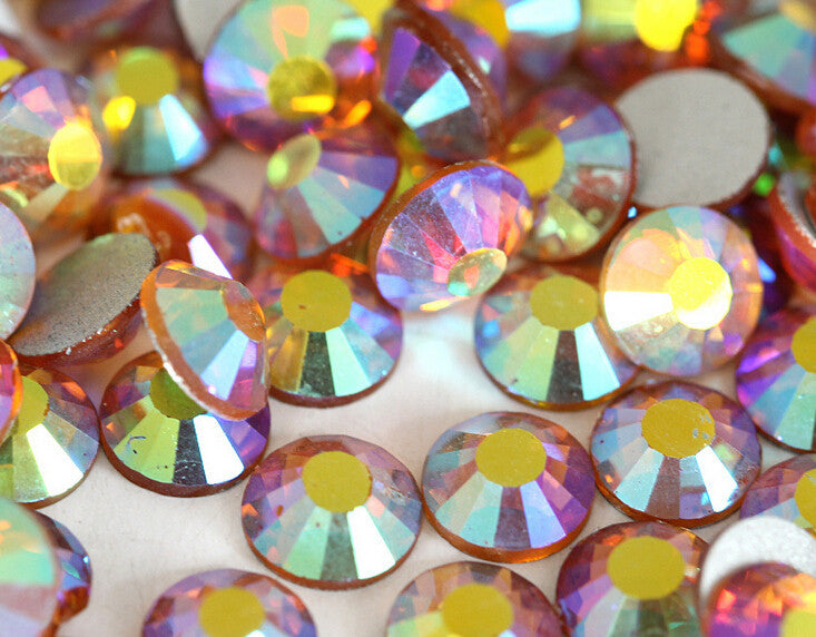 Golden Yellow AB Crystal Glass Rhinestones - SS16, 1440 pieces - 4mm Flatback, Round, Loose Bling - TheDecoKraft - 1