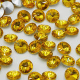 18mm Topaz Glass Round Pointback Chatons Rhinestones - 10pcs