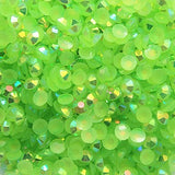 4mm Bright Green AB Jelly Resin Round Flat Back Loose Rhinestones