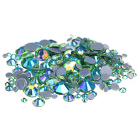 Mixed Peridot Green AB Glass Round Flat Back Loose HOTFIX Rhinestones - 400pcs