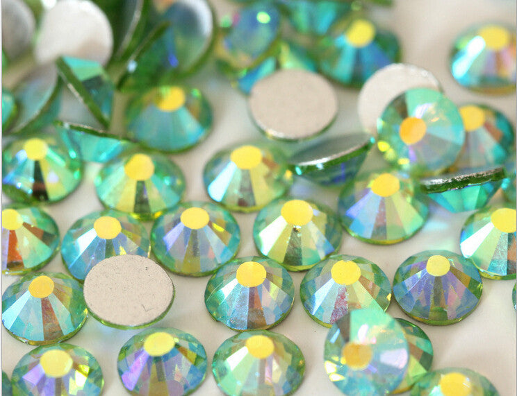 Light Green AB Crystal Glass Rhinestones - SS30, 288 Pieces - 6mm Flatback, Round, Loose Bling - TheDecoKraft