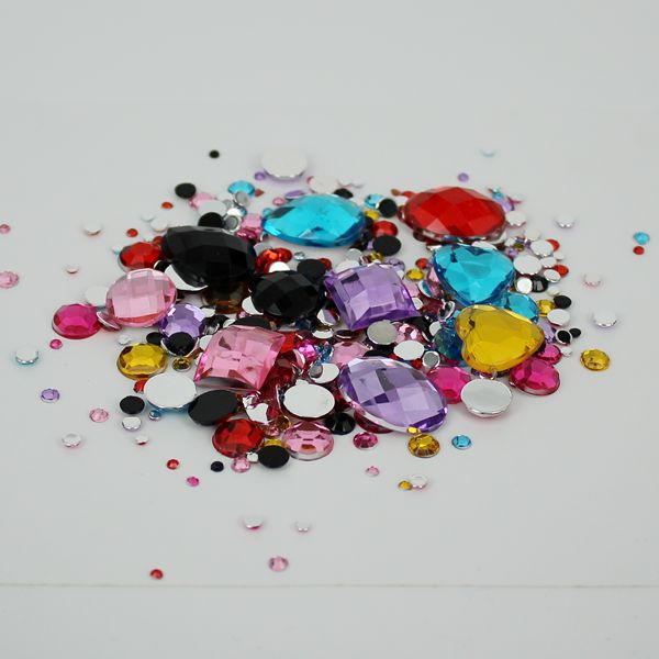 2-18mm Assorted Acrylic Mixed Shapes Flat Back Rhinestones - 1000pcs