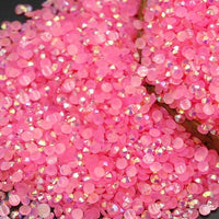 2mm Pink AB Jelly Resin Flat Back Round Loose Rhinestones
