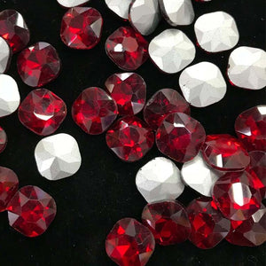 14mm Red Glass Square Pointback Chatons Rhinestones - 20pcs