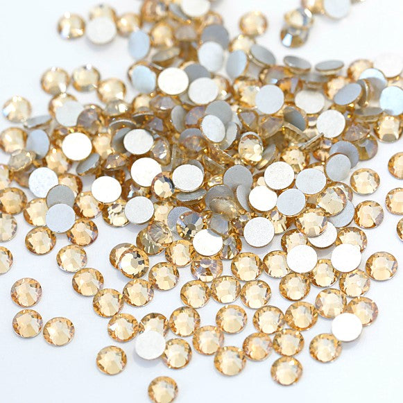 SS16/4mm Gold Champagne Glass Round Flat Back Loose Rhinestones - 1440pcs