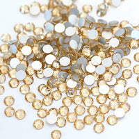 ss3/1mm Gold Champagne Glass Round Flat Back Loose Rhinestones - 1440pcs
