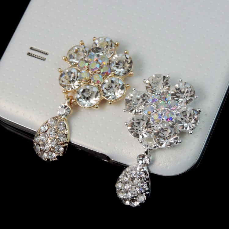 Crystal Rhinestone Flower with Dangling Teardrop in a Silver or Gold Setting Bling Alloy Flatback Cabochons (TDK-B1290)
