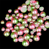3-6mm Pink and Green Ombre Mermaid Gradient Resin Round Flat Back Loose Pearls - 1000pcs