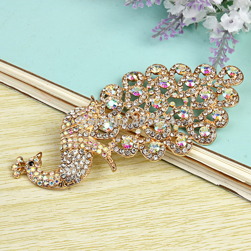Gorgeous Bling Crystal Clear AB Rhinestone Peacock Alloy Cabochons Decoden DIY Phone Accessory