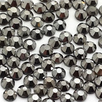 SS34/7mm Hematite Glass Round Flat Back Loose Rhinestones - 288pcs