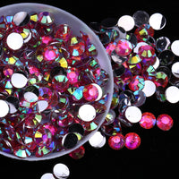 4mm Hot Pink AB Round Flatback Loose Resin Rhinestones