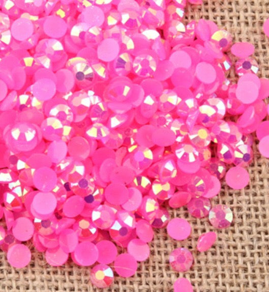 2mm Hot Pink AB Jelly Round Flat Back Loose Rhinestones