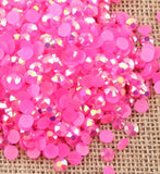 6mm Hot Pink AB Jelly Resin Round Flat Back Loose Rhinestones
