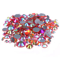 Mixed Hyacinth AB Glass Round Flat Back Loose HOTFIX Rhinestones - 400pcs