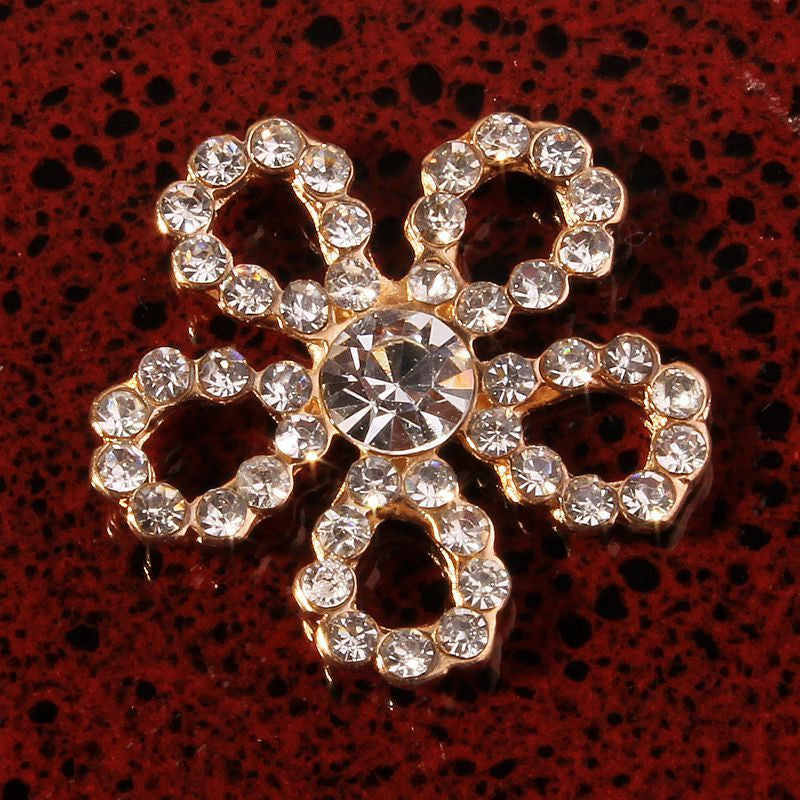 19mm Crystal Rhinestone Flowers Gold Flatback Buttons (NO SHANK) Embellishments Wedding Bridal Hair Accessory Flower Centers (TDK-B1217)