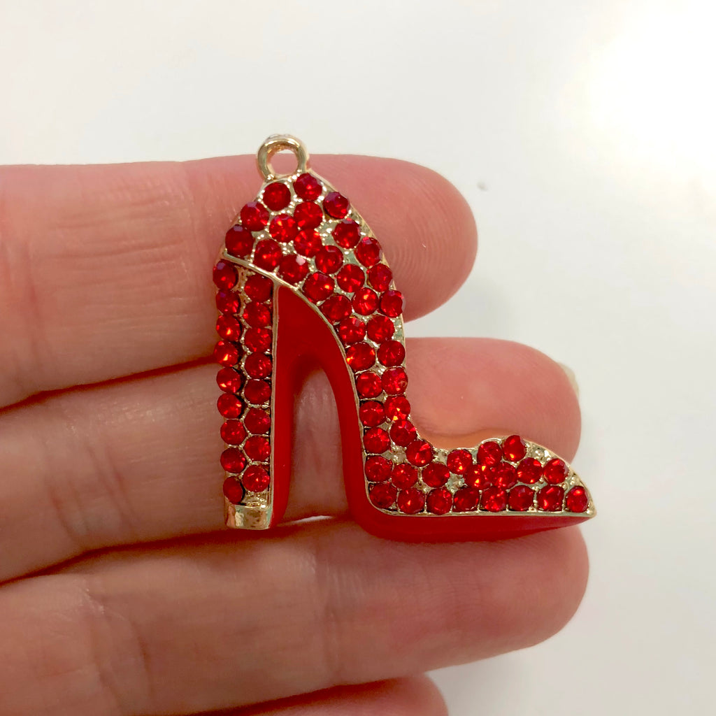 Red Enamel Clear Crystals Gold Plated Setting Metal Charm - Heel