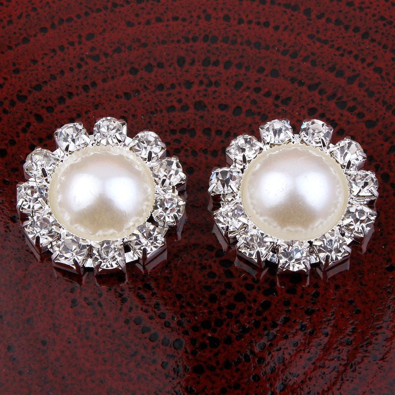 20mm Pearl & Rhinestone Silver Flatback Buttons (NO SHANK) Embellishments Wedding Bridal Hair Accessory Flower Centers